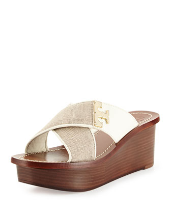 Culver Linen Crisscross Wedge, Natural/Ivory