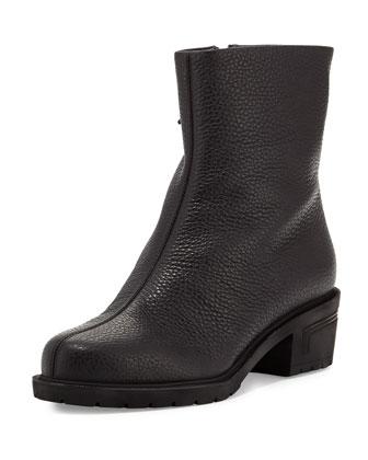 Leather Round-Toe Bootie, Black