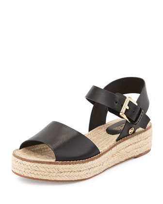 Lilah Leather Espadrille Sandal, Black