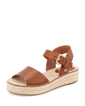 Lilah Leather Espadrille Sandal, Luggage