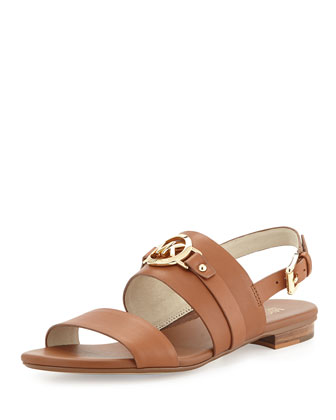 Molly Leather Flat Sandal, Luggage
