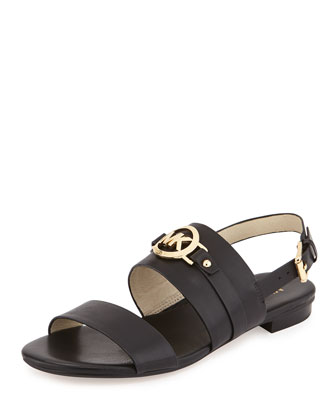 Molly Leather Flat Sandal, Black