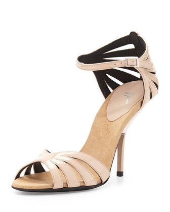 Patent Leather Ankle-Strap Sandal, Blush