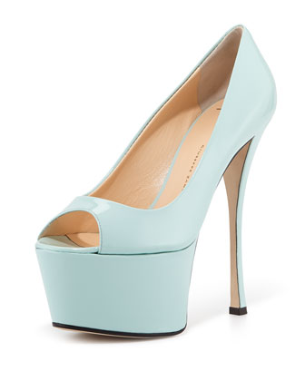 Peep-Toe Platform Pump, Light Green