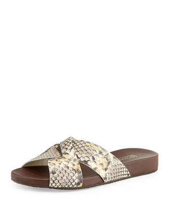 Somerly Snake-Embossed Leather Sandal, Gray
