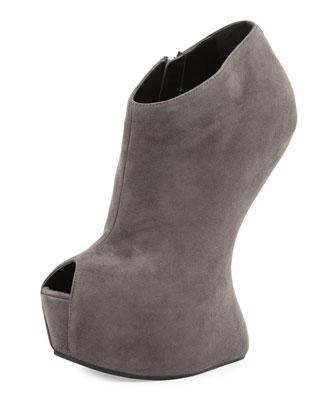 Sculptural Wedge Booties, Dark Gray
