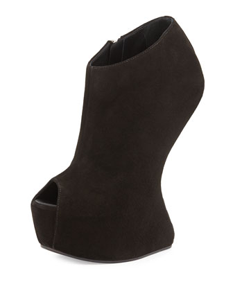 Sculptural Wedge Booties, Black