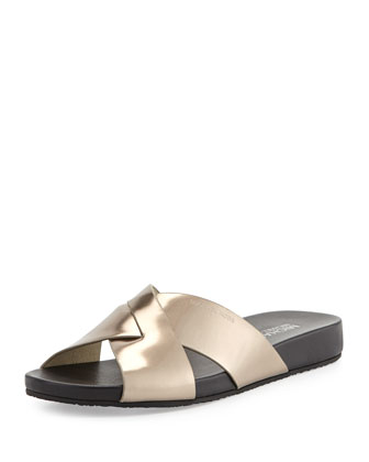 Somerly Metallic Crisscross Slide Sandal, Nickel