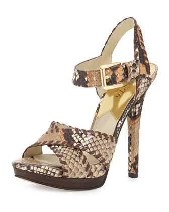 Odessa Snake-Embossed Sandal, Peanut