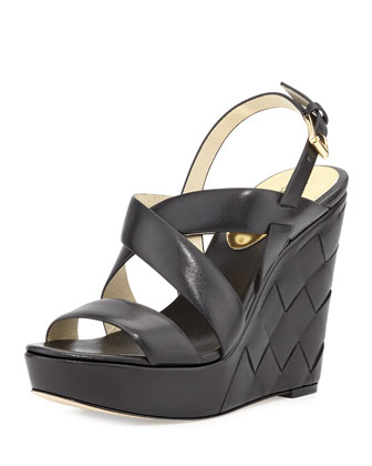 Bennet Leather Wedge Sandal, Black