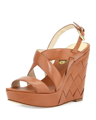 Bennet Leather Wedge Sandal, Luggage