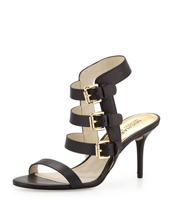 Beverly Buckle-Strap Leather Sandal, Black