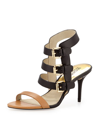 Beverly Buckle-Strap Leather Sandal, Peanut/Black
