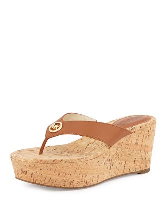 Natalia Leather Wedge Sandal, Brown