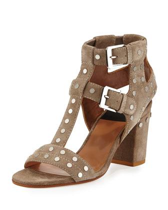 Suede Studded T-Strap Sandal, Beige