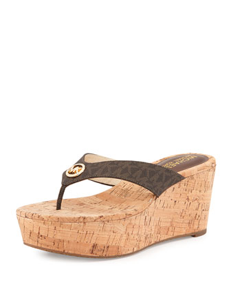 Natalia MK Signature Wedge Sandal, Brown