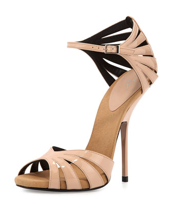 Caged High-Heel Sandal with Strap, Blush