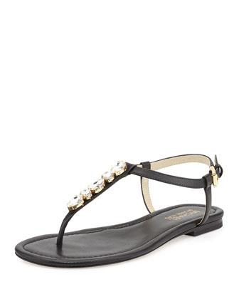 Jayden Embellished Thong Sandal, Black
