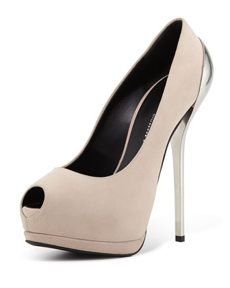 Suede Peep-Toe Metallic Heel Pump, Pink