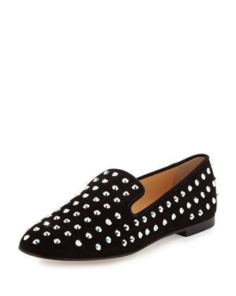 Studded Suede Slip-On Loafer, Black