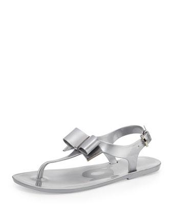 Kayden Jelly Bow Sandal, Silver