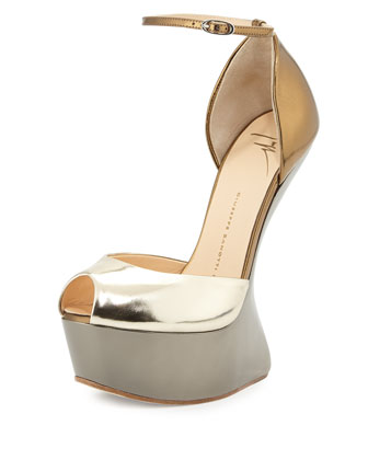 Sculpted Wedge Peep Toe Heel, Platinum