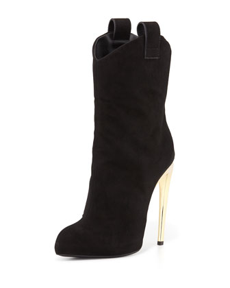 Suede High-Heel Western Boot, Black