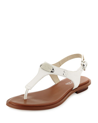 Logo Plate Thong Sandal, Optic White