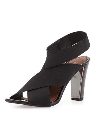 Athens Elastic Stretch Sandal W/Watersnake Heel, Black