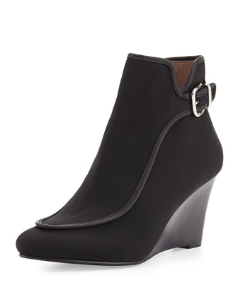 Evee Crepe Wedge Bootie, Black