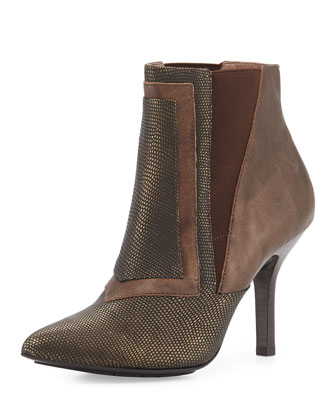 Hamo Metallic Lizard-Embossed Leather Bootie, Bronze