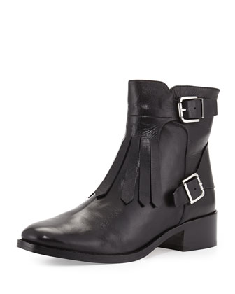 Zaria Leather Kilt Bootie, Black