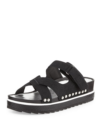 Corso Calf Hair Slide Sandal, Black