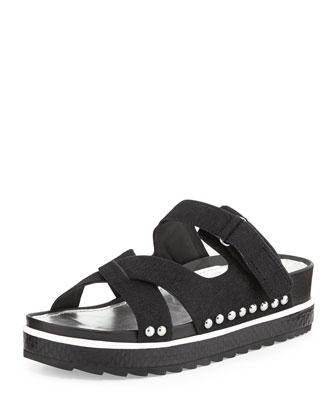 Corso Calf Hair Slide Sandal, Black