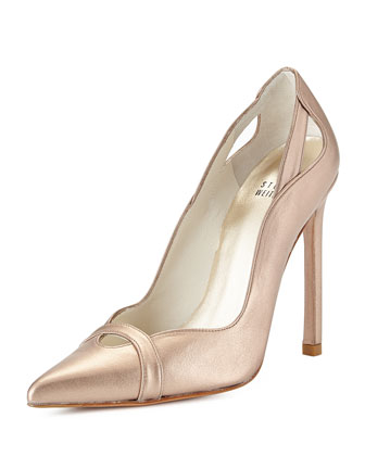 Drama Metallic Leather Pump, Feldspar