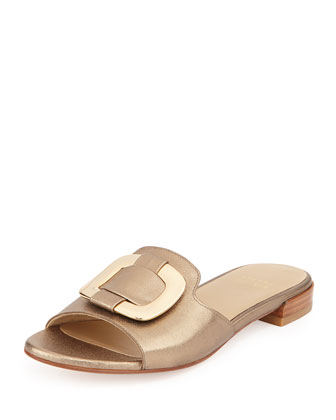 Odeon Ornament Metallic Slide Sandal, Ale Washed