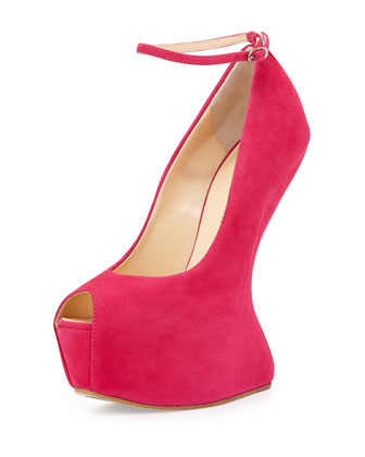 Peep-Toe Wedge with Strap, Hot Pink