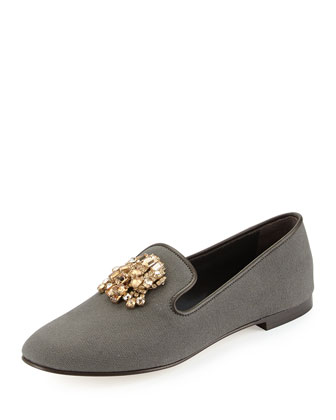 Fabric Loafer with Jeweled Detail, Brown