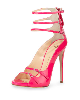 Strappy Patent Leather Pump, Fuchsia
