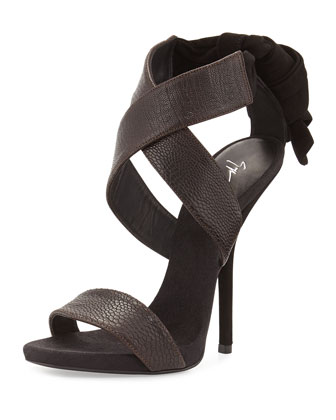 Strappy High-Heel Leather Sandal, Brown