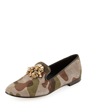 Camo Suede Loafer with Jeweled Detail
