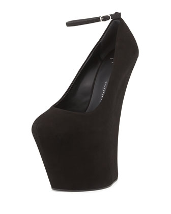 Suede Heel-Less Wedge Pump, Black