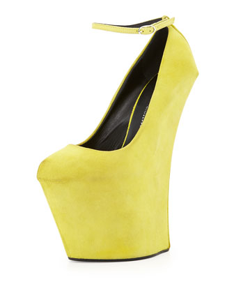 Almond-Toe Wedge with Strap, Yellow