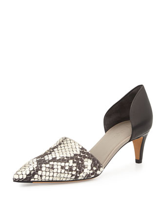 Aurelian Kitten-Heel d'Orsay Pump, Black/White