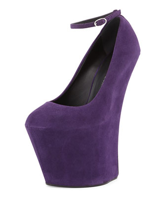 Suede Heel-Less Wedge Pump, Violet