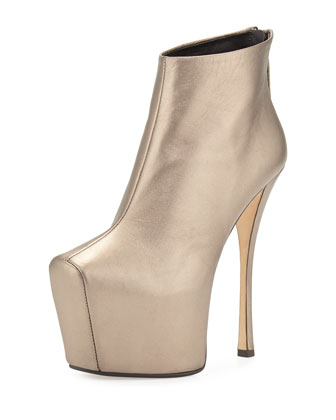 Leather High-Heel Platform Bootie, Gold