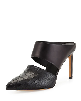 Corrine Leather Slip-On Mule, Black