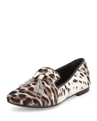 Calf-Hair Loafer with Jeweled Detail