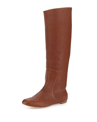 Leather Round-Toe Flat Boot, Brown