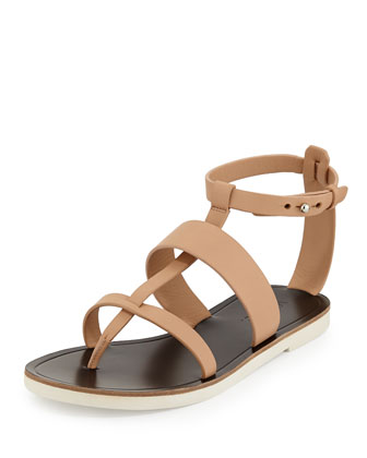 Crete Flat Strappy Leather Sandal, Nude